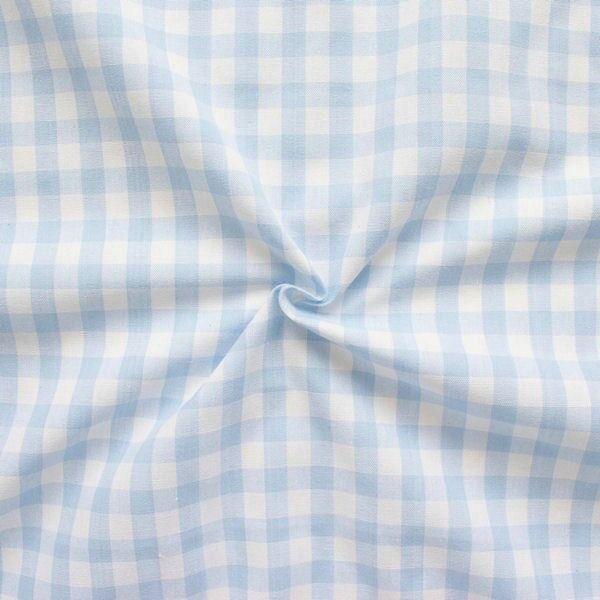 100% Baumwollstoff Züchen Vichy Karo groß Farbe Hell-Blau Weiss