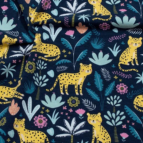 Baumwoll Stretch Jersey Kleiner Leopard Dunkel-Blau