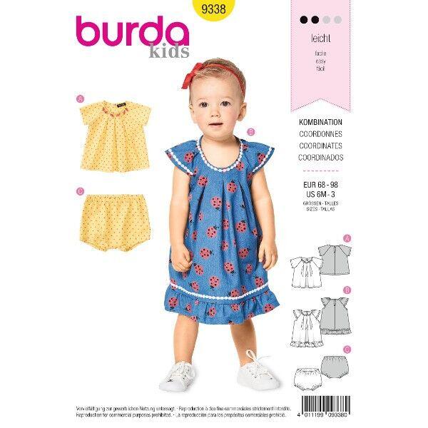 Bluse und Höschen – Hängerkleidchen mit Rüschen, Gr. 68 - 98, Schnittmuster Burda 9338