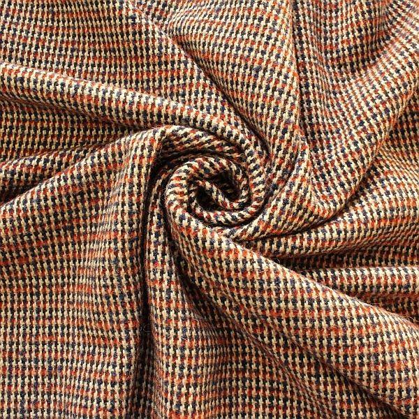 Tweed Wollstoff Hahnentritt Klassik Blau-Rost