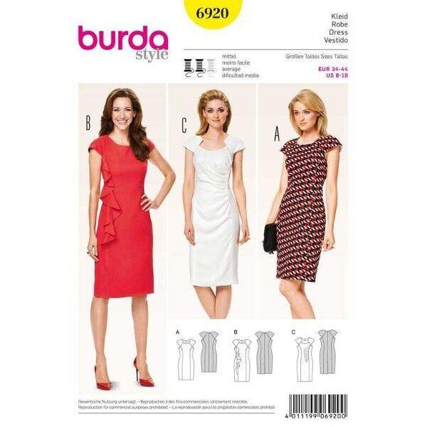 Kleid – überschnittene Schultern, Gr. 34 - 44, Schnittmuster Burda 6920