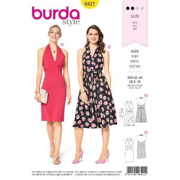Neckholder-Kleid – Cocktailkleid – rückenfrei, Gr. 34 - 44, Schnittmuster Burda 6421