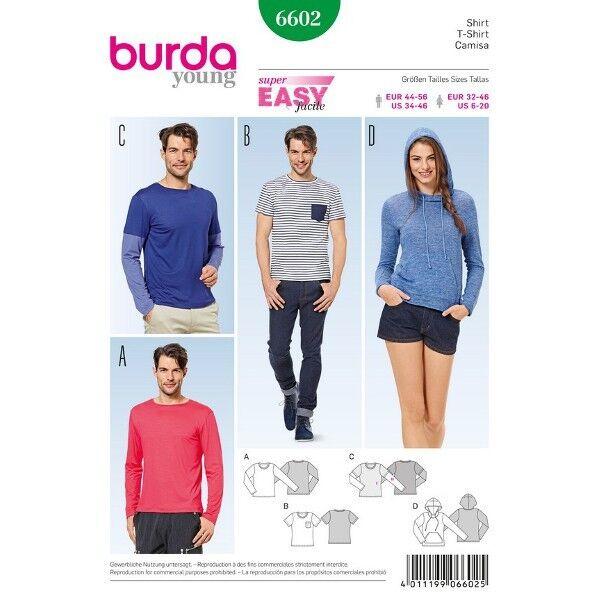Shirt - Kapuzenshirt, Gr. 32-46 | 44-56, Schnittmuster Burda 6602