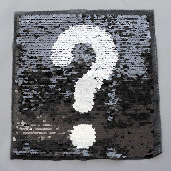 Wendepailletten Patch Fragezeichen Schwarz-Silber