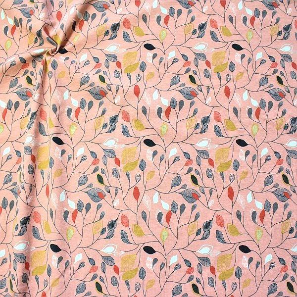 Organic Baumwoll Stretch Jersey Blätterzweige Alt-Rose