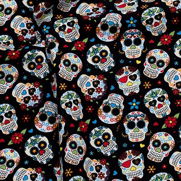 100% Baumwolle Popeline Hippie Skulls Schwarz