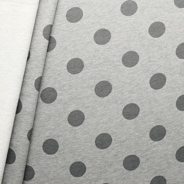 Sweatshirt Baumwollstoff Punkte groß Hell-Grau melange