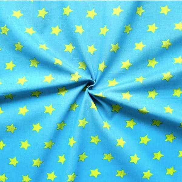 """100% Baumwollstoff """"Sterne groß"""" Farbe Blau-Grün"""