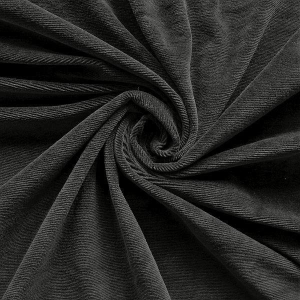 Feincord Jersey Schwarz
