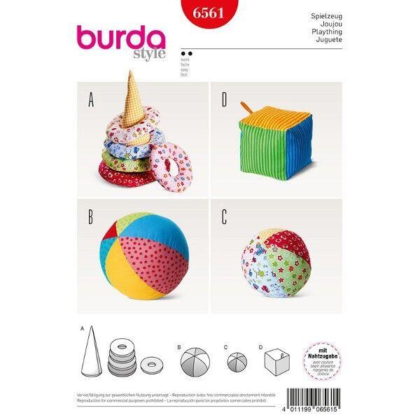 Spielzeug - Kegel mit Ringen - Ball - Würfel, Schnittmuster Burda 6561