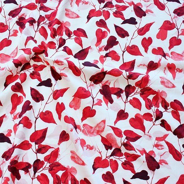 Baumwoll Stretch Jersey Herz Blätter Weiss-Rot
