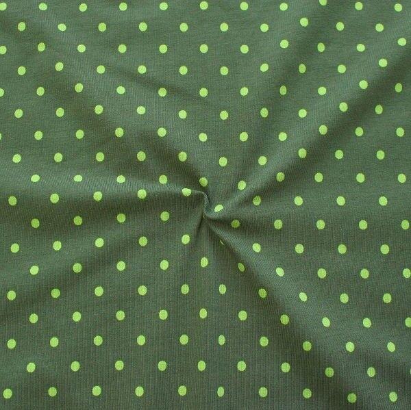 Baumwoll Stretch Jersey Classic Dots Oliv Lind-Grün