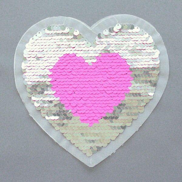 Wendepailletten Patch Herz Silber-Pink