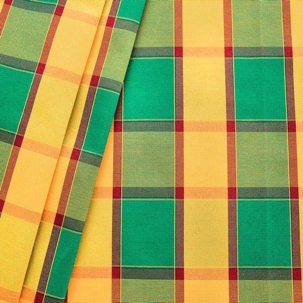 Dekostoff Outdoorstoff Karo groß Grün-Gelb-Rot