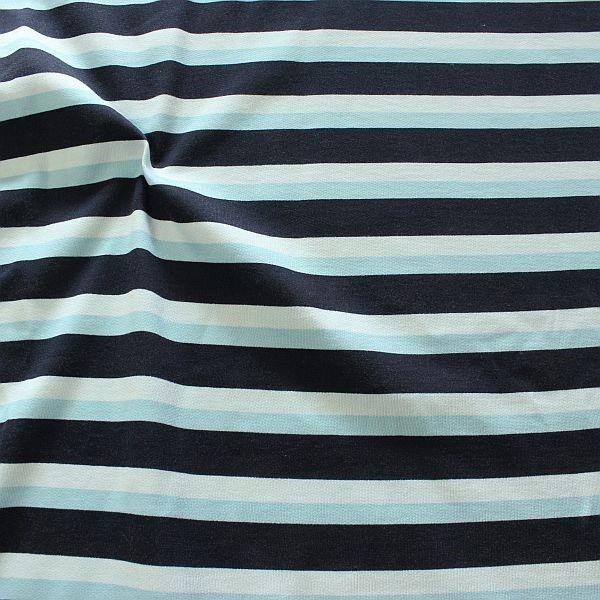 Sweatshirt Baumwollstoff Streifen Trio Blau