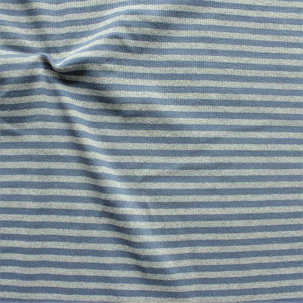 Feinstrick Jersey Two Tone Ringel Blau Hell-Grau