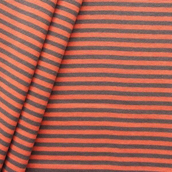 """Baumwoll Bündchenstoff """"Ringel glatt 2"""" Farbe Orange-Grau"""
