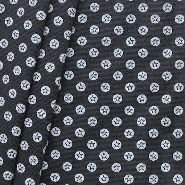 """Baumwoll Bündchenstoff """"Stern im Kreis glatt"""" Farbe Schwarz-Weiss"""