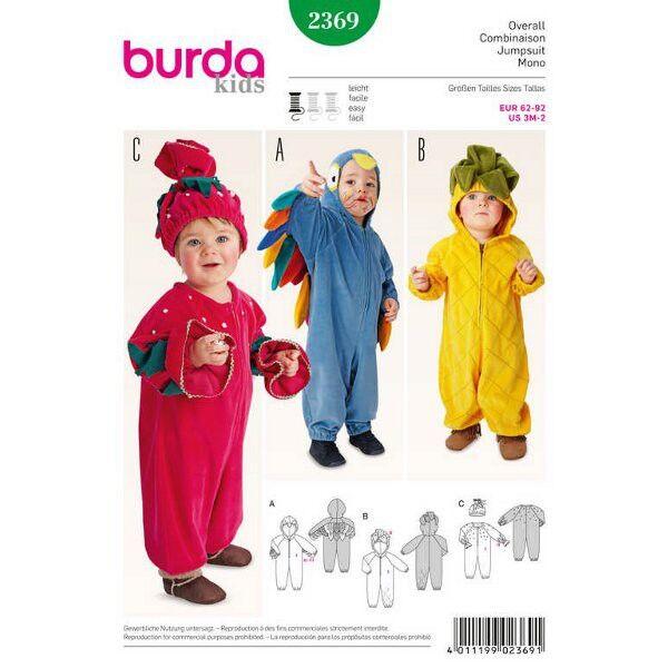 Burda Schnittmuster 2369 Kinderkostüm Ananas, Erdbeere und Vogel als bequemer Overall mit Kapuze oder Mütze