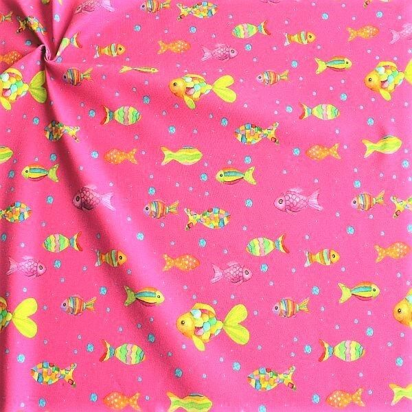 Baumwoll Stretch Jersey Fisch Mix Pink