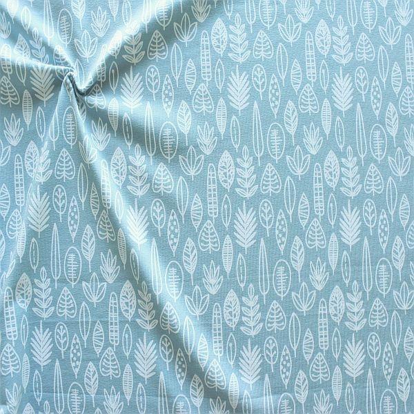 Baumwoll Stretch Jersey Blätter-Mix Hell Blau