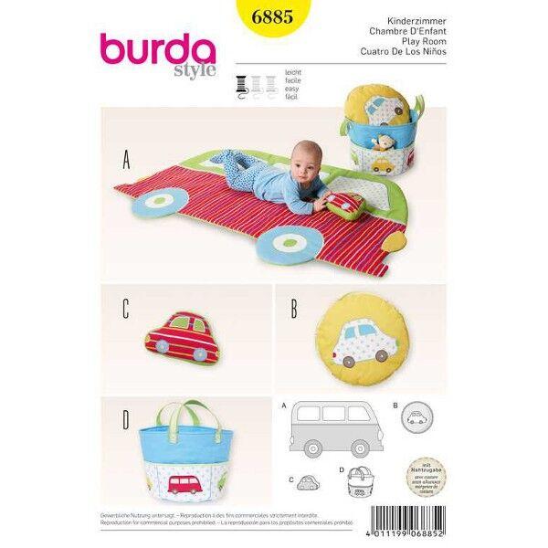 Burda 6885 Spieldecke, Kissen und Stofftasche 'Auto'