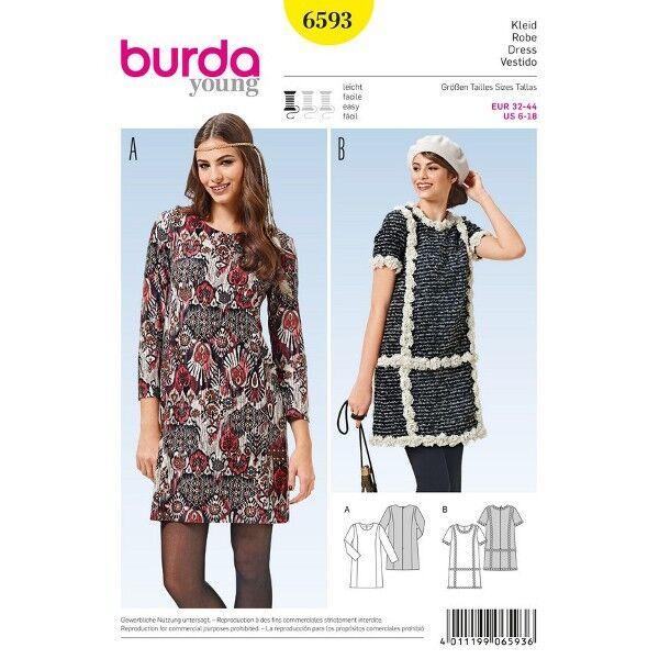 Kleid mit Teilungsnähten - gerade Form, Gr. 32 - 44, Schnittmuster Burda 6593