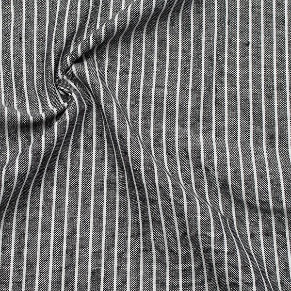 Viskose-Leinen Chambray Streifen Schwarz Weiss
