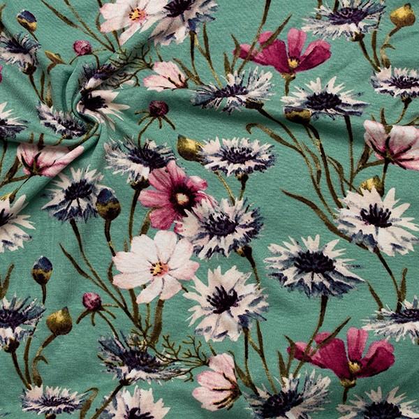 Viskose Stretch Jersey Wildblumen Mint-Türkis