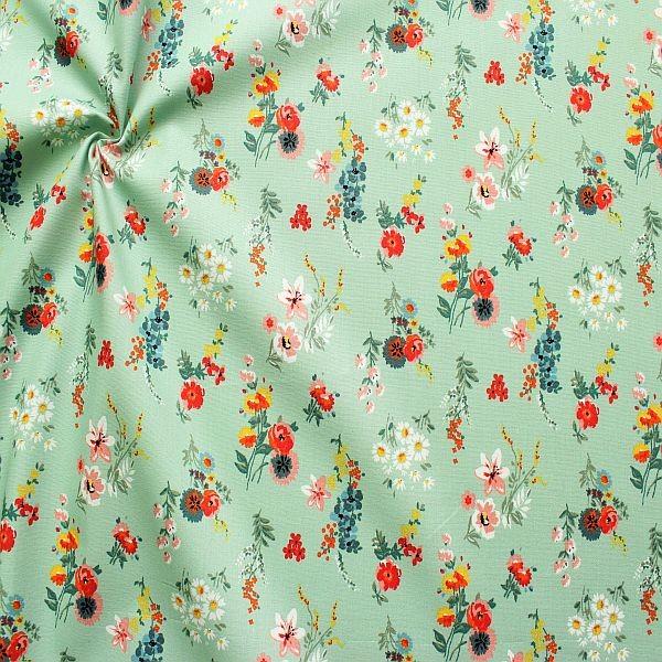 Baumwolle Popeline Flowery Mint-Grün
