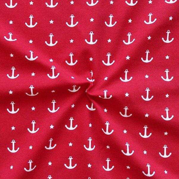 Baumwoll Stretch Jersey Anker & Sterne Rot