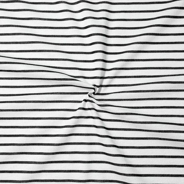 """100% Baumwolle Jersey """"Sailor Stripes 2"""" Farbe Weiss-Schwarz"""