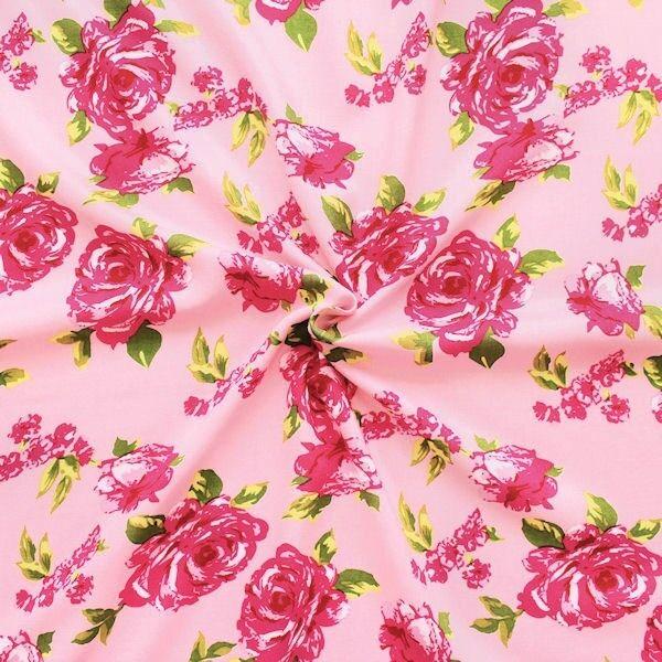 """100% Viskose Javanaise """"Rosenblüten"""" Farbe Rosa"""
