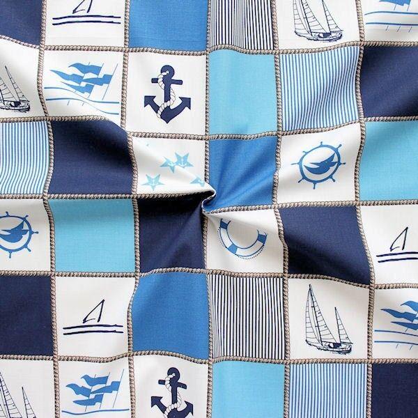 """100% Baumwollstoff """"Yachting Patchwork"""" Farbe Blau-Weiss"""