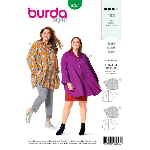 Bluse –  capeartige Form – Stehkragen – Hemdblusenkragen, Gr. 44 - 54, Schnittmuster Burda 6257