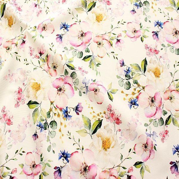 Baumwolle Dekostoff Aquarell Blüten Creme-Weiss Rose