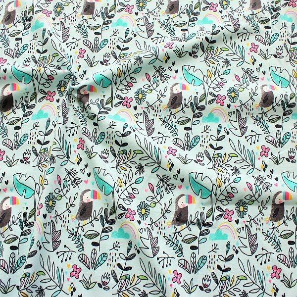 Baumwoll Stretch Jersey Jungle Life Pastell-Türkis