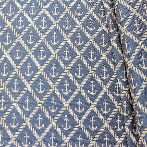 Jacquard Dekostoff Doubleface Anker & Seile Blau-Ecru