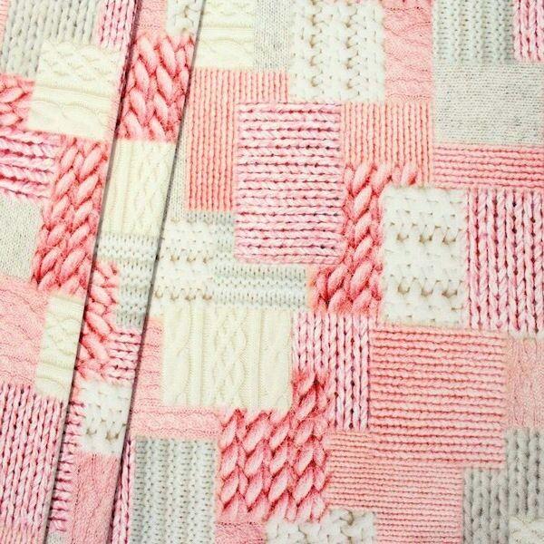 "Dekostoff Digital Druck ""Strick Patchwork"" Farbe Rosa"