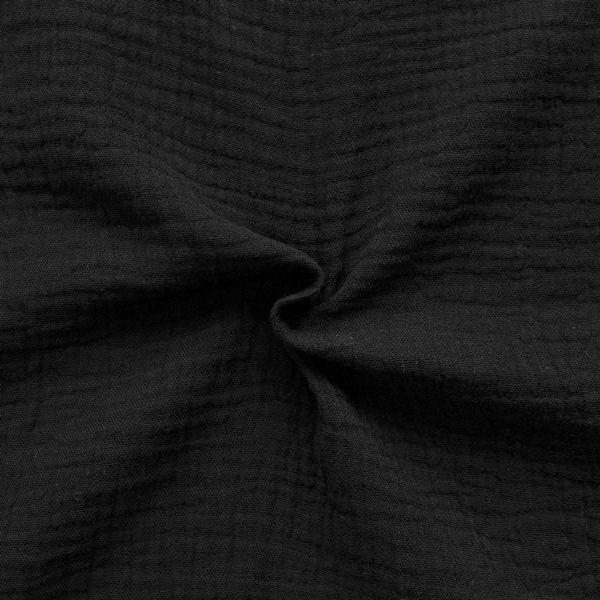 100% Baumwolle Musselin Double Gauze Farbe Schwarz