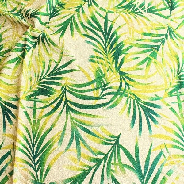 Viskose-Leinen Stoff Palmenblätter Natur