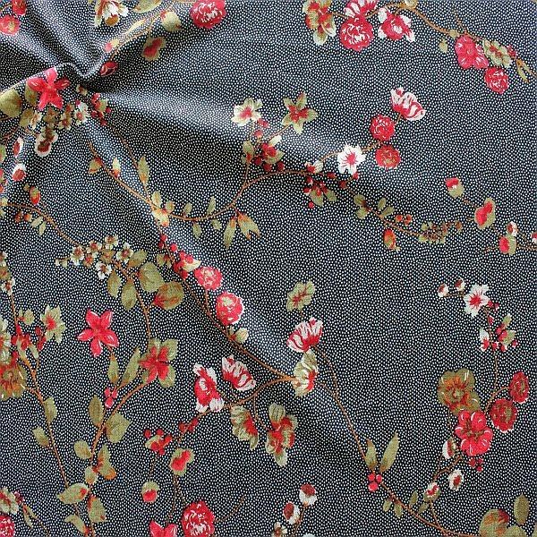 Feinstrick Jersey Blütenzweige & Tupfen Dunkel-Blau