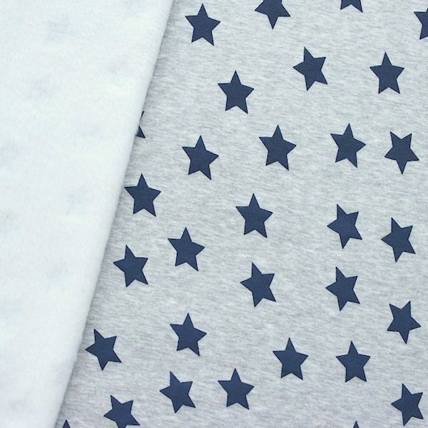 Alpenfleece Sweatshirtstoff Sterne Groß Hell-Grau Blau