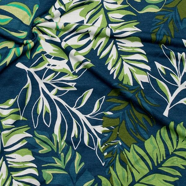 Viskose Stretch Jersey Palmenblätter Mix Petrol-Blau