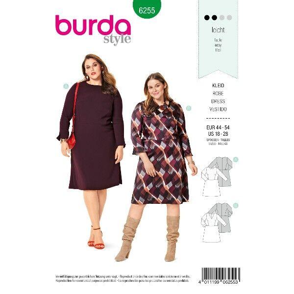 Kleid mit ausgestelltem Rock – V-Ausschnitt – Rundhalsausschnitt, Gr. 44 - 54, Schnittmuster Burda 6255