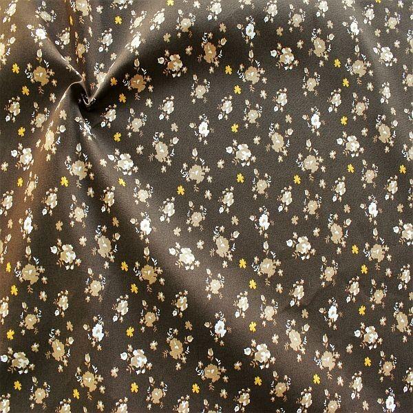 Baumwolle Popeline Folklore Blüten Mix Braun