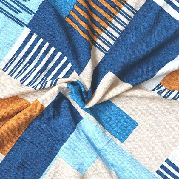 Viskose Stretch Jersey Retro Grafik Blau-Beige