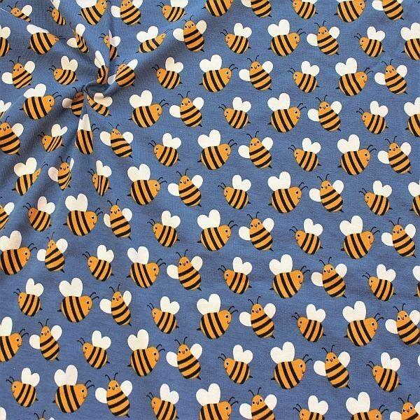 Baumwoll Stretch Jersey Bees Tauben-Blau