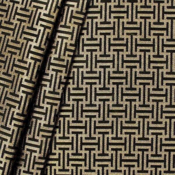 "Jacquard Dekostoff ""Labyrinth"" Farbe Gold-Schwarz"