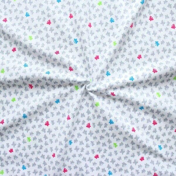 """Baumwoll Stretch Jersey """"Schmetterlinge klein"""" Farbe Weiss"""